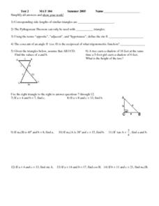 Test 2:  MAT 104 - Trigonometry Worksheet