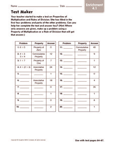 Test Maker Worksheet