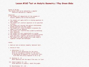 Test On Analytic Geometry/ Play Green Globs Lesson Plan