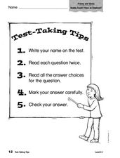 Test-Taking Tips 3rd - 6th Grade Worksheet | Lesson Planet