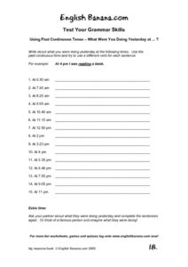 Test Your Grammar Skills: Using Past Continuous Tense Worksheet