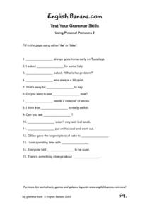 Test Your Grammar Skills-- Using Personal Pronouns 2 Worksheet