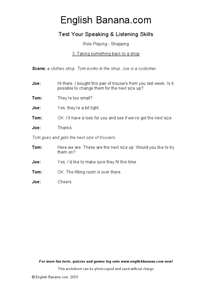 Test Your Speaking and Listening Skills: Role Play-Shopping: ESL Worksheet