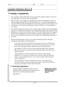Testing a Hypothesis Worksheet