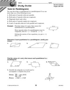 Tests for Parallelograms Worksheet
