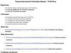 Texas Instruments Calculator Basics:  TI-83 Plus Lesson Plan