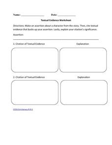 Textual evidence worksheet 6th 10th grade worksheet lesson planet