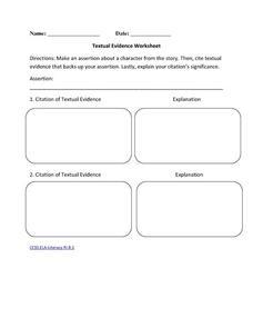 textual evidence worksheet 6th 10th grade worksheet lesson planet. Black Bedroom Furniture Sets. Home Design Ideas