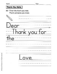 thank-you-note-worksheet  Th Grade Thank You Letter Template on fourth grade writing outline template, opinion letter template, 2nd grade friendly letter template, informal business letter template, 5th grade report card template, blank friendly letter template, lined blank letter template,