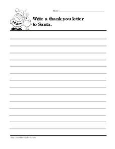 letters to santa lesson plans thank you santa letter 2nd 3rd grade worksheet lesson 22075 | thank you santa letter worksheet