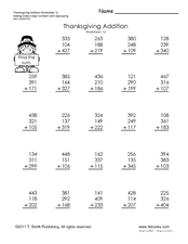 Thanksgiving Addition Worksheet
