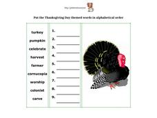 Thanksgiving Alphabetical Order Words Worksheet