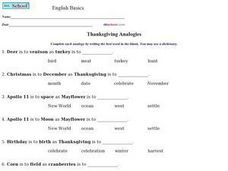 Thanksgiving Analogies Worksheet