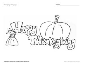 Thanksgiving Coloring Page Worksheet