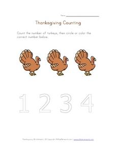 Thanksgiving Counting 2 Worksheet