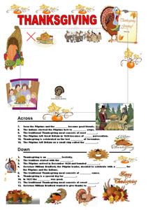 Thanksgiving Crossword Puzzle Worksheet