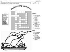 Thanksgiving Crossword Worksheet
