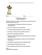 Thanksgiving Day Activities Stative Verb Review Worksheet