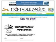 Thanksgiving Feast Word Scramble Worksheet