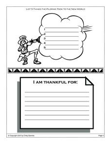 Thanksgiving-- Pilgrims And Thankful List Worksheet