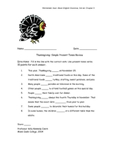 Thanksgiving: Simple Present Tense Review Worksheet
