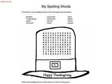 Thanksgiving Spelling Words and Word Search Puzzle Worksheet