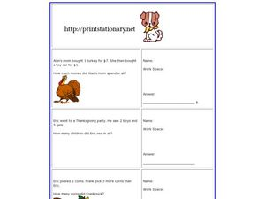 Thanksgiving Story Problems Worksheet