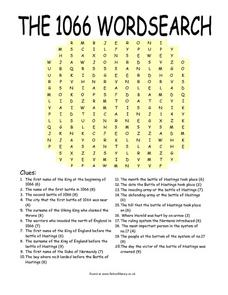The 1066 Word Search 5th - 8th Grade Worksheet | Lesson Planet
