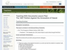 The 1897 Petition Against the Annexation of Hawaii Lesson Plan