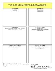 Printables Primary Source Analysis Worksheet the 6 cs of primary source analysis 7th 12th grade worksheet worksheet