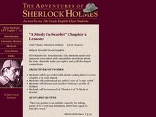"The Adventures of Sherlock Holmes, ""A Study In Scarlet"" Chapter 2 Lesson Lesson Plan"