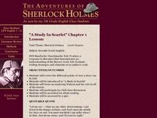 "The Adventures of Sherlock Holmes, ""A Study In Scarlet"" Lesson Plan"