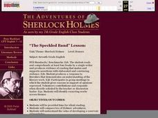 "The Adventures of Sherlock Holmes, ""The Speckled Band"" Lesson Lesson Plan"