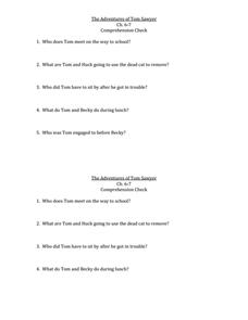 Essay prompts for tom sawyer
