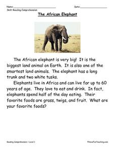 The African Elephant: Reading Comprehension Worksheet