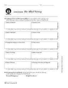 The Allied Victory Worksheet