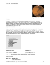 The Amazing Red Planet Lesson Plan