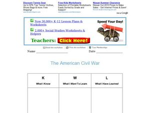 The American Civil War Worksheet