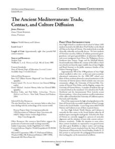 The Ancient Mediterranean: Trade, Contact, and Cultural Diffusion Lesson Plan