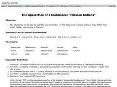 The Apalachee of Tallahassee: Lesson Plan