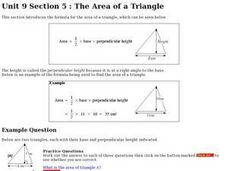 The Area of a Triangle Worksheet