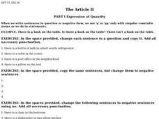 "The Article II- Part I Expression of Quantity with ""An"" or ""A"" Worksheet"