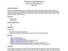 The Artist As Entrepreneur: VARA-visual Artists Rights Act Lesson Plan