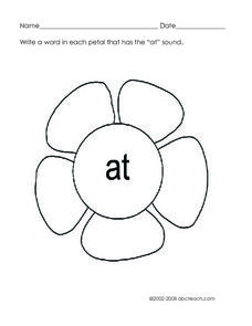 The 'at' sound Worksheet