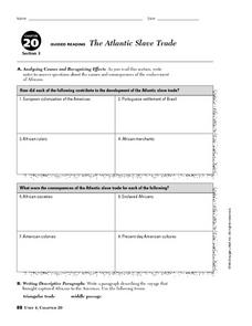 The Atlantic Slave Trade Worksheet