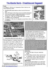 The Atomic Bomb: Hiroshima and Nagasaki Worksheet