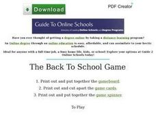 The Back to School Game Worksheet
