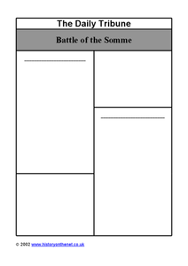 The Battle of Somme Worksheet