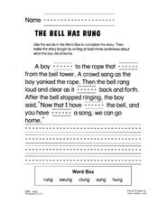 The Bell Has Rung Worksheet