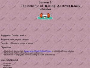 The Benefits of B.(eing) A.(ctive) D.(aily) Behavior Lesson Plan